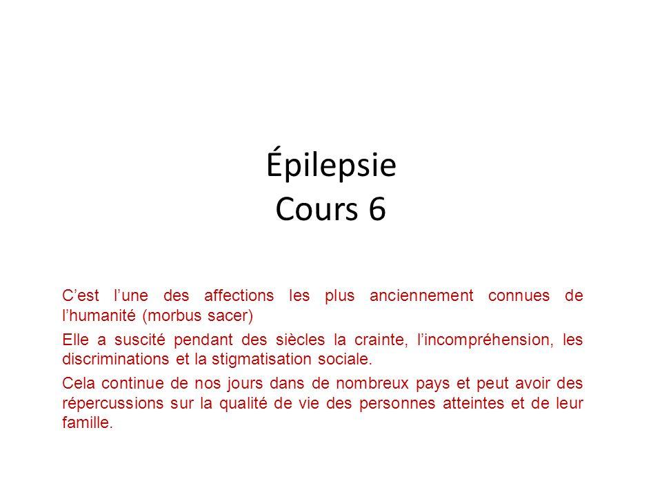 Épilepsie Cours 6 Cest lune des affections les plus anciennement connues de lhumanité (morbus sacer) Elle a suscité pendant des siècles la crainte, li