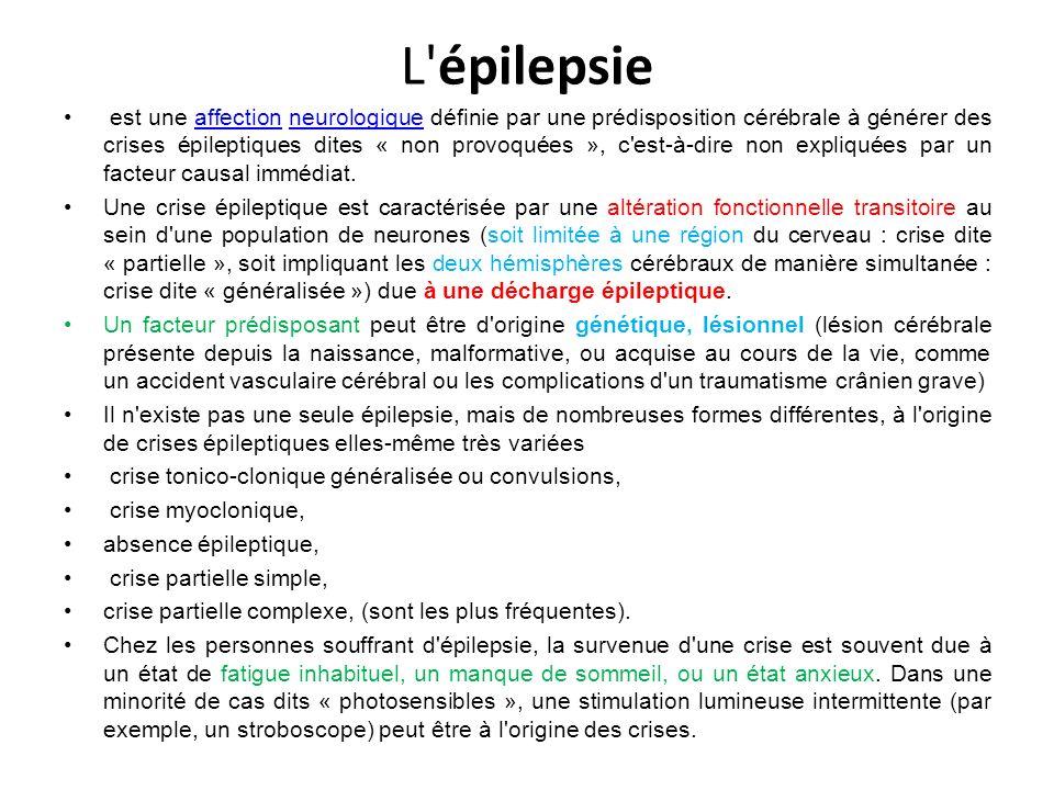 Épidémiologie Au cours de sa vie, un être humain sur 20 fait une crise d épilepsie isolée L épilepsie (la maladie, c est-à-dire lorsque le candidat fait régulièrement des crises d épilepsie) est l affection neurologique la plus fréquente (0,5 % à 0,7 %) après la migraine et concerne, en France près de 1 % de la population.affectionneurologiquemigraineFrance L épilepsie dans ses différentes formes touche près de 50 millions de personnes dans le monde, nourrissons, enfants, adolescents et adultes confondus.