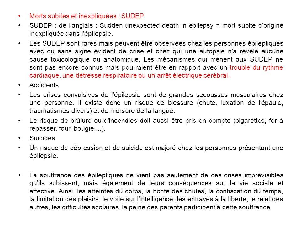 Morts subites et inexpliquées : SUDEP SUDEP : de l'anglais : Sudden unexpected death in epilepsy = mort subite d'origine inexpliquée dans l'épilepsie.