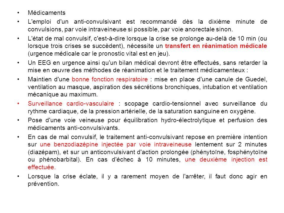 Médicaments L'emploi d'un anti-convulsivant est recommandé dès la dixième minute de convulsions, par voie intraveineuse si possible, par voie anorecta