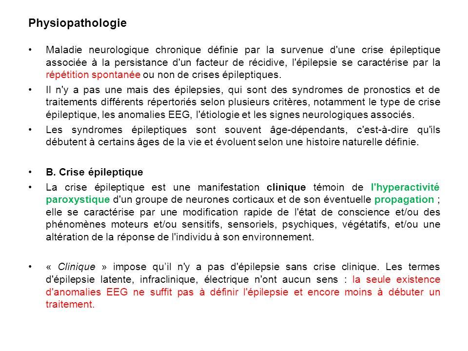 Physiopathologie Maladie neurologique chronique définie par la survenue d'une crise épileptique associée à la persistance d'un facteur de récidive, l'