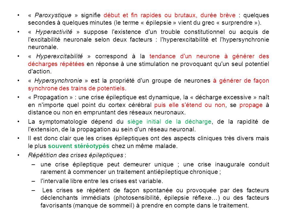 « Paroxystique » signifie début et fin rapides ou brutaux, durée brève : quelques secondes à quelques minutes (le terme « épilepsie » vient du grec «