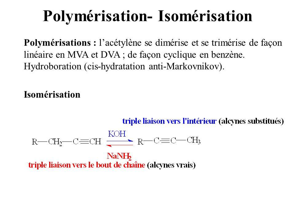 Polymérisation- Isomérisation Polymérisations : lacétylène se dimérise et se trimérise de façon linéaire en MVA et DVA ; de façon cyclique en benzène.