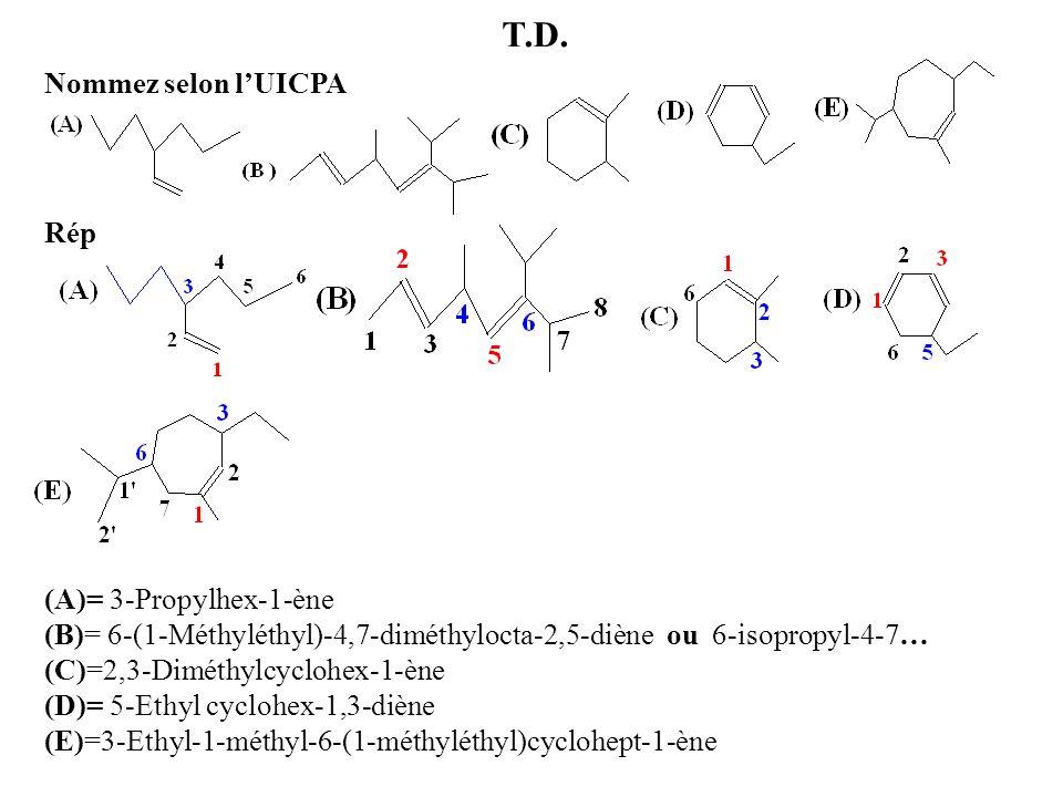 T.D. Nommez selon lUICPA Rép (A)= 3-Propylhex-1-ène (B)= 6-(1-Méthyléthyl)-4,7-diméthylocta-2,5-diène ou 6-isopropyl-4-7… (C)=2,3-Diméthylcyclohex-1-è
