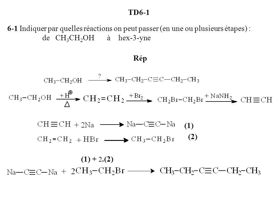 TD6-1 6-1 Indiquer par quelles réactions on peut passer (en une ou plusieurs étapes) : de CH 3 CH 2 OH à hex-3-yne Rép (1) (2) (1) + 2.(2)