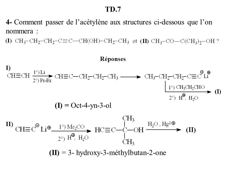 TD.7 4- Comment passer de lacétylène aux structures ci-dessous que lon nommera : Réponses I) (I) = Oct-4-yn-3-ol II) (II) = 3- hydroxy-3-méthylbutan-2