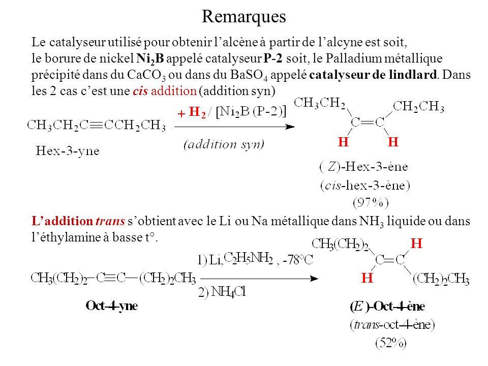 Remarques Le catalyseur utilisé pour obtenir lalcène à partir de lalcyne est soit, le borure de nickel Ni 2 B appelé catalyseur P-2 soit, le Palladium