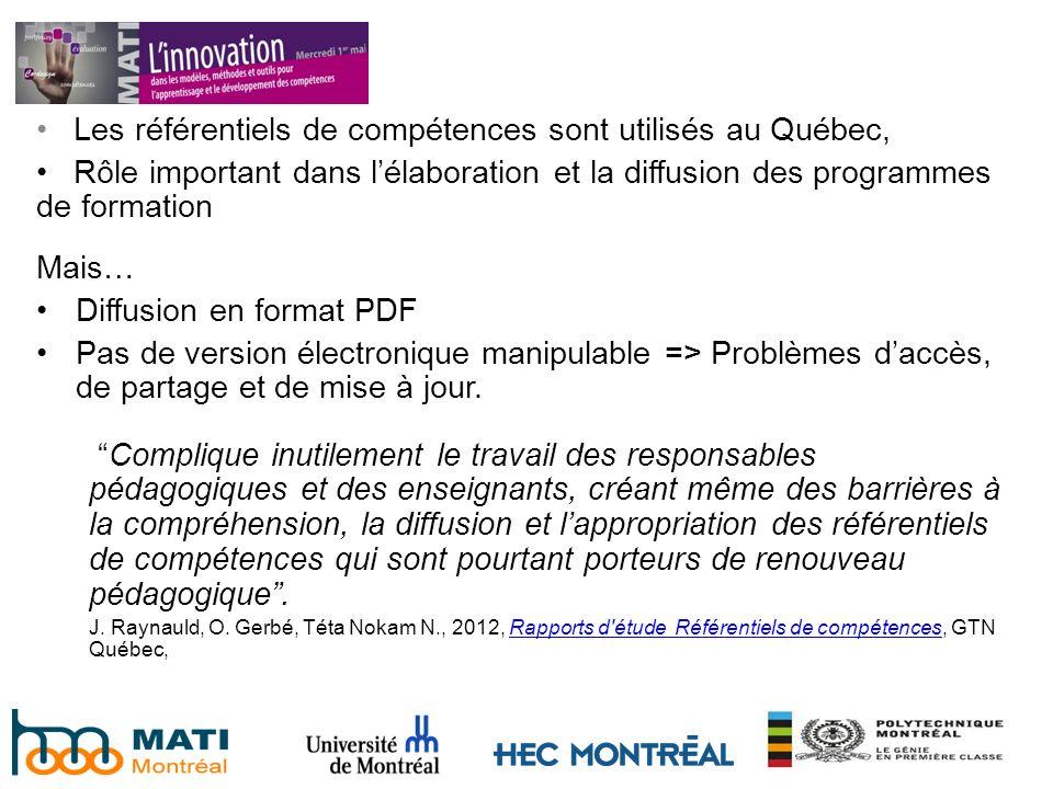 Les référentiels de compétences sont utilisés au Québec, Rôle important dans lélaboration et la diffusion des programmes de formation Mais… Diffusion