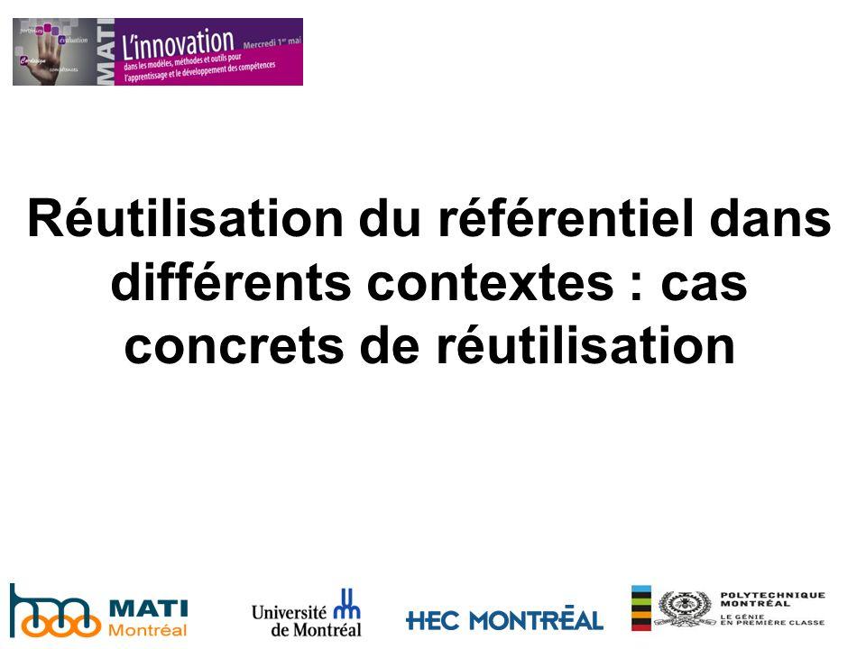 Réutilisation du référentiel dans différents contextes : cas concrets de réutilisation