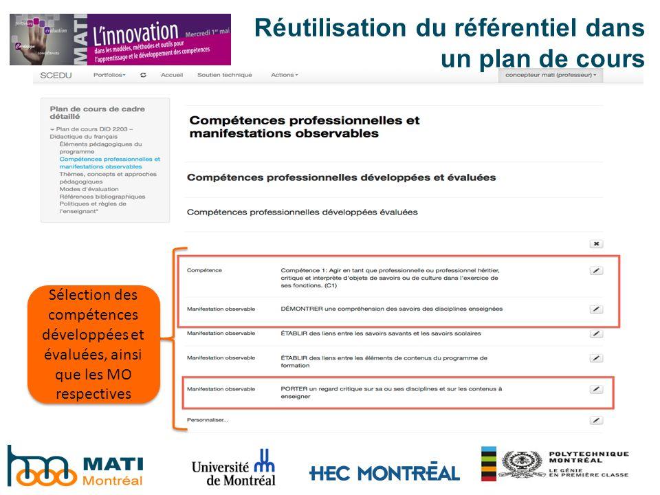 Réutilisation du référentiel dans un plan de cours Sélection des compétences développées et évaluées, ainsi que les MO respectives