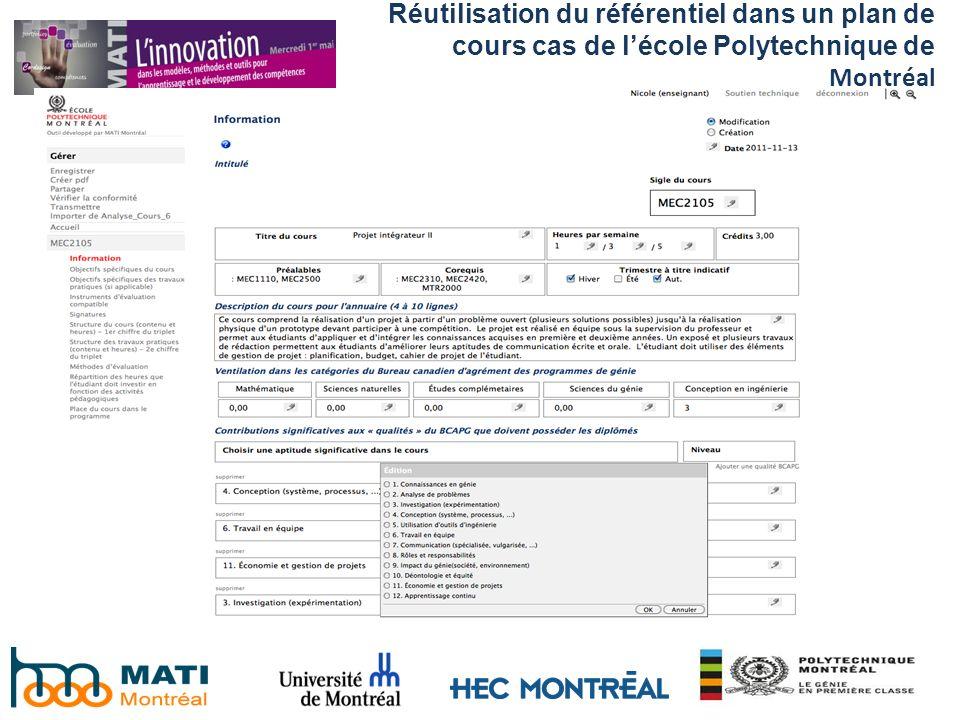 Réutilisation du référentiel dans un plan de cours cas de lécole Polytechnique de Montréal