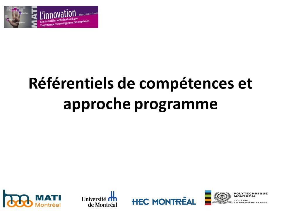 Référentiels de compétences et approche programme