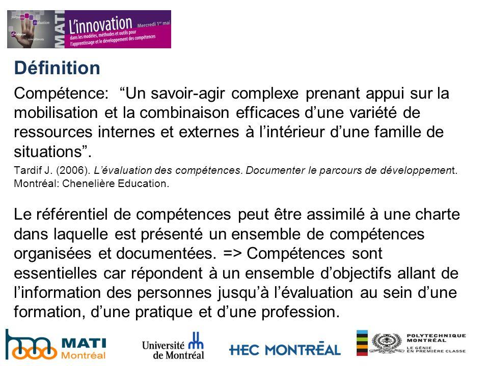 Définition Compétence: Un savoir-agir complexe prenant appui sur la mobilisation et la combinaison efficaces dune variété de ressources internes et ex