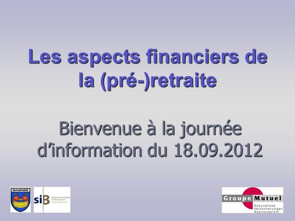 Bienvenue à la journée dinformation du 18.09.2012 Les aspects financiers de la (pré-)retraite