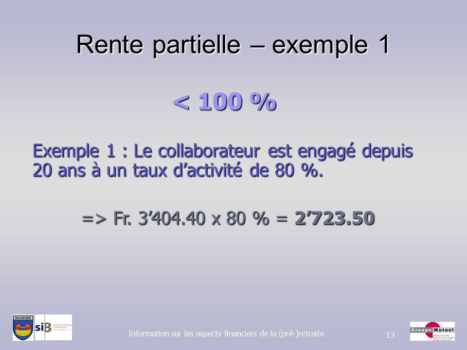 Rente partielle – exemple 1 Information sur les aspects financiers de la (pré-)retraite 13 Exemple 1 : Le collaborateur est engagé depuis 20 ans à un