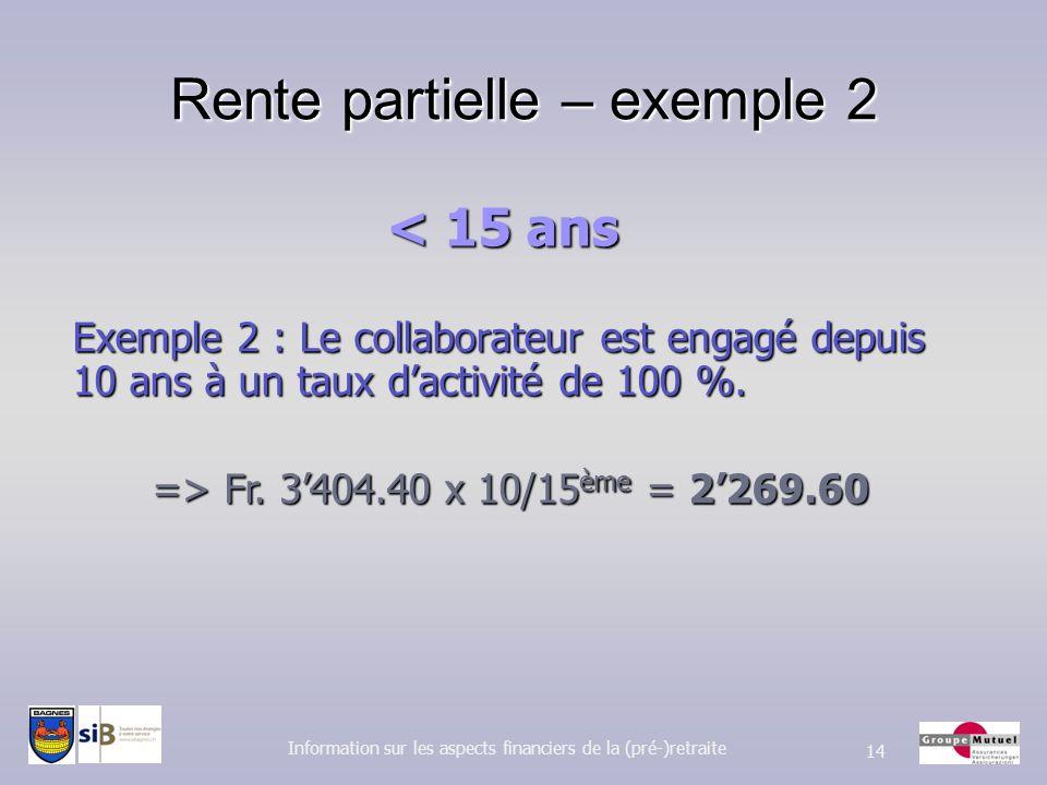 Rente partielle – exemple 2 Information sur les aspects financiers de la (pré-)retraite 14 Exemple 2 : Le collaborateur est engagé depuis 10 ans à un