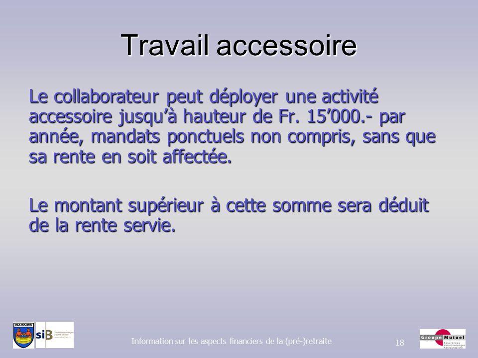 Travail accessoire Le collaborateur peut déployer une activité accessoire jusquà hauteur de Fr. 15000.- par année, mandats ponctuels non compris, sans