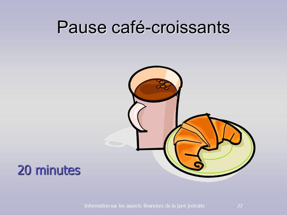 Pause café-croissants 20 minutes Information sur les aspects financiers de la (pré-)retraite 22