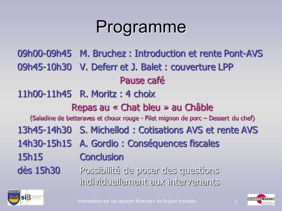 Programme 09h00-09h45 M. Bruchez : Introduction et rente Pont-AVS 09h45-10h30 V. Deferr et J. Balet : couverture LPP Pause café 11h00-11h45 R. Moritz