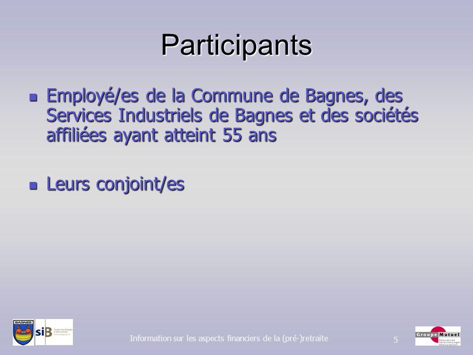 Participants Employé/es de la Commune de Bagnes, des Services Industriels de Bagnes et des sociétés affiliées ayant atteint 55 ans Employé/es de la Co