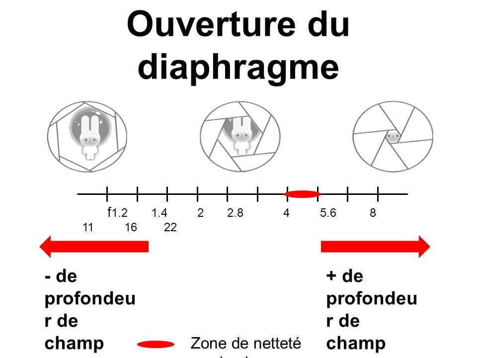 Ouverture du diaphragme f 1.2 1.4 2 2.8 4 5.6 8 11 16 22 - de profondeu r de champ + de profondeu r de champ Zone de netteté maximale