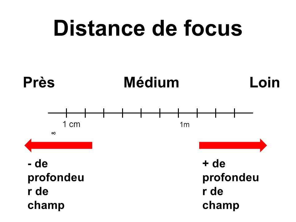 Distance de focus 1 cm 1m - de profondeu r de champ + de profondeu r de champ PrèsLoinMédium