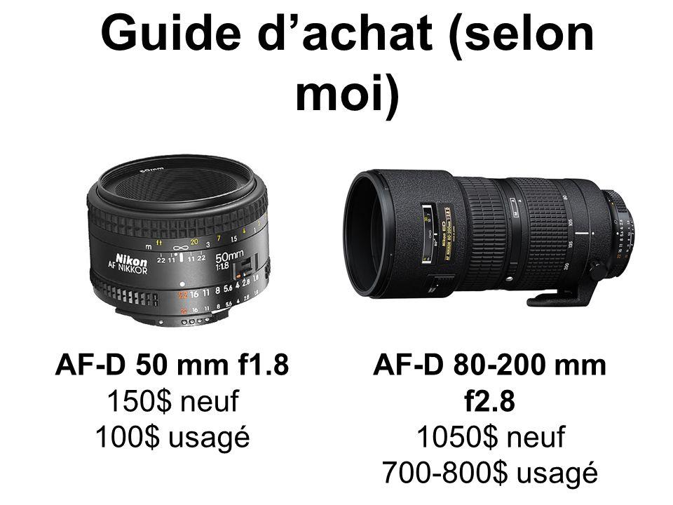 Guide dachat (selon moi) AF-D 50 mm f1.8 150$ neuf 100$ usagé AF-D 80-200 mm f2.8 1050$ neuf 700-800$ usagé