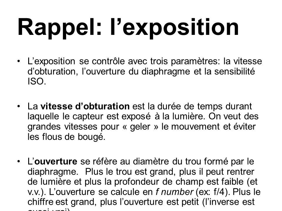 Rappel: lexposition Lexposition se contrôle avec trois paramètres: la vitesse dobturation, louverture du diaphragme et la sensibilité ISO.