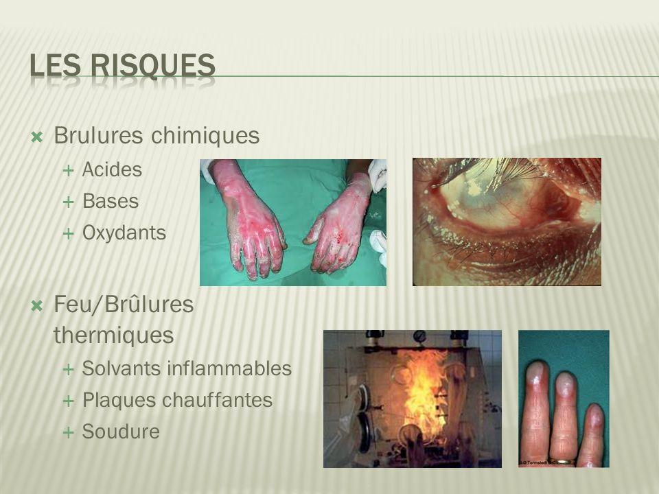 Brulures chimiques Acides Bases Oxydants Feu/Brûlures thermiques Solvants inflammables Plaques chauffantes Soudure