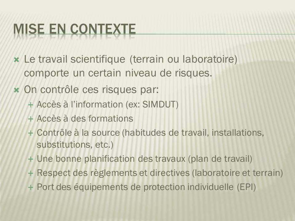 Le travail scientifique (terrain ou laboratoire) comporte un certain niveau de risques.