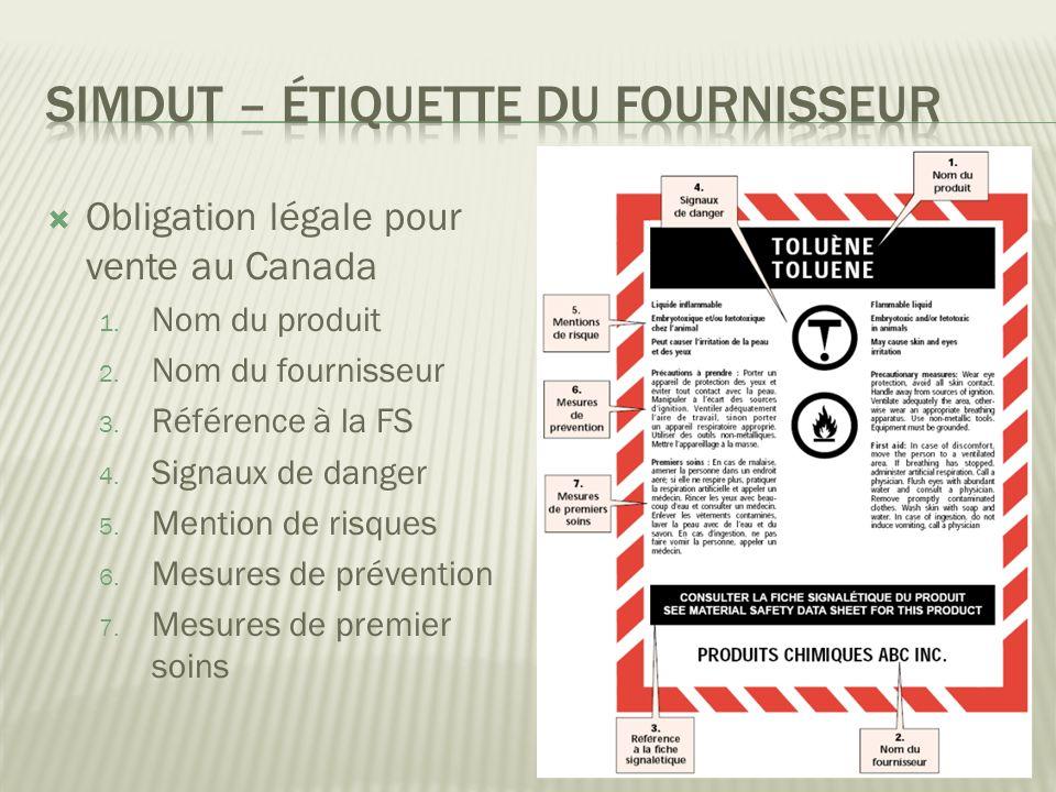 Obligation légale pour vente au Canada 1.Nom du produit 2.