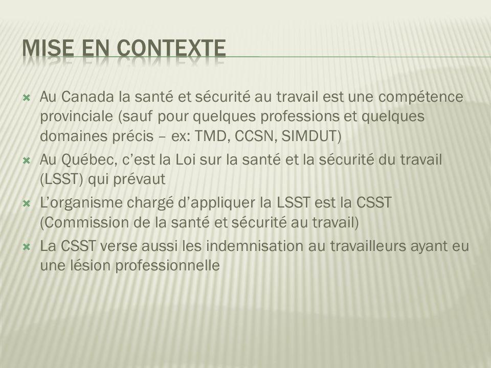 Au Canada la santé et sécurité au travail est une compétence provinciale (sauf pour quelques professions et quelques domaines précis – ex: TMD, CCSN, SIMDUT) Au Québec, cest la Loi sur la santé et la sécurité du travail (LSST) qui prévaut Lorganisme chargé dappliquer la LSST est la CSST (Commission de la santé et sécurité au travail) La CSST verse aussi les indemnisation au travailleurs ayant eu une lésion professionnelle