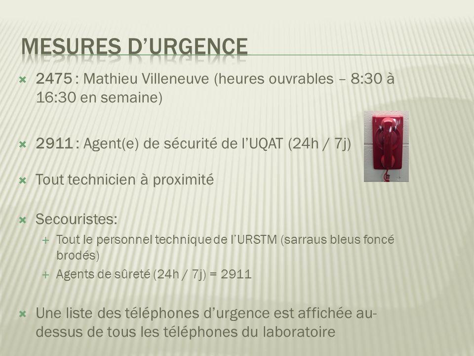2475 : Mathieu Villeneuve (heures ouvrables – 8:30 à 16:30 en semaine) 2911 : Agent(e) de sécurité de lUQAT (24h / 7j) Tout technicien à proximité Secouristes: Tout le personnel technique de lURSTM (sarraus bleus foncé brodés) Agents de sûreté (24h / 7j) = 2911 Une liste des téléphones durgence est affichée au- dessus de tous les téléphones du laboratoire