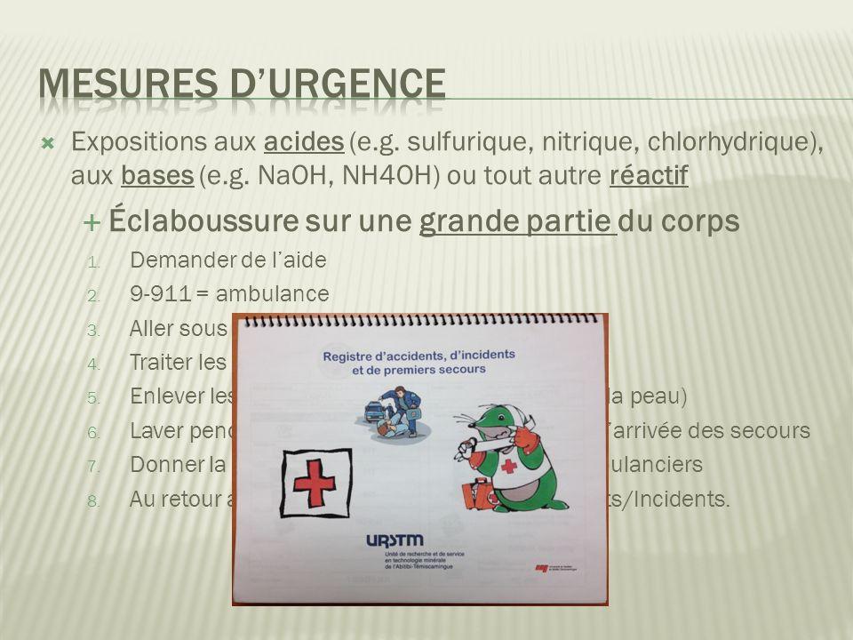 Expositions aux acides (e.g.sulfurique, nitrique, chlorhydrique), aux bases (e.g.