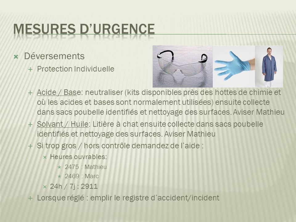 Déversements Protection Individuelle Acide / Base: neutraliser (kits disponibles près des hottes de chimie et où les acides et bases sont normalement utilisées) ensuite collecte dans sacs poubelle identifiés et nettoyage des surfaces.