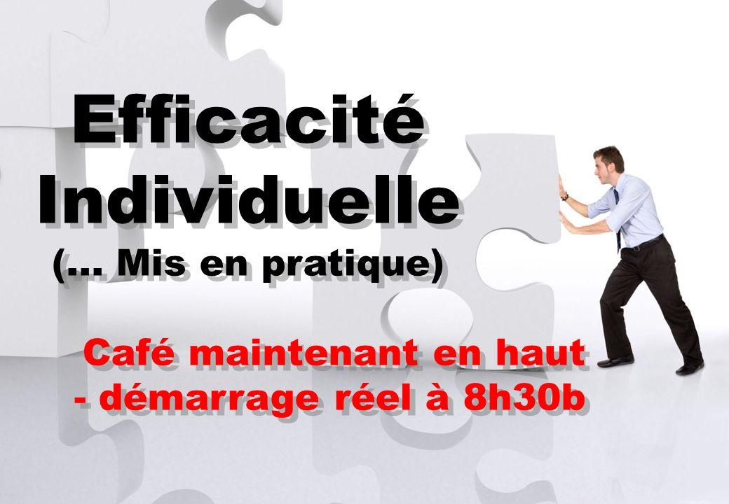 Contact se@traincompany.dk or find soren ellegaard on LinkedIn Efficacité Individuelle (... Mis en pratique) Café maintenant en haut - démarrage réel