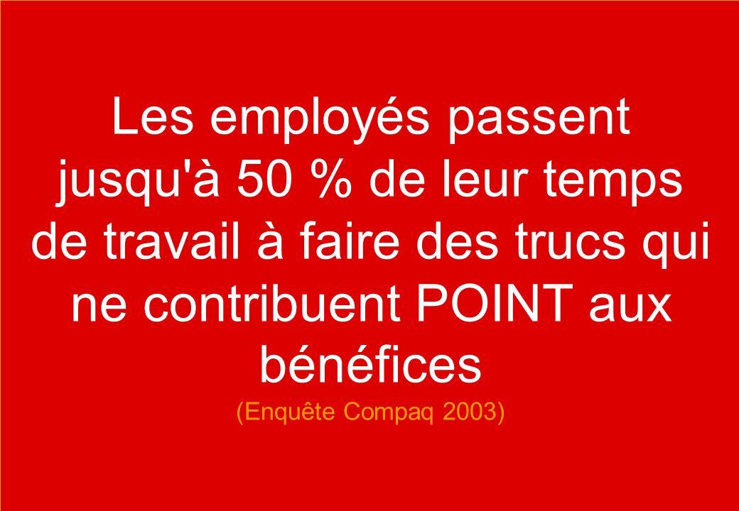 Contact se@traincompany.dk or find soren ellegaard on LinkedIn Les employés passent jusqu à 50 % de leur temps de travail à faire des trucs qui ne contribuent POINT aux bénéfices (Enquête Compaq 2003)