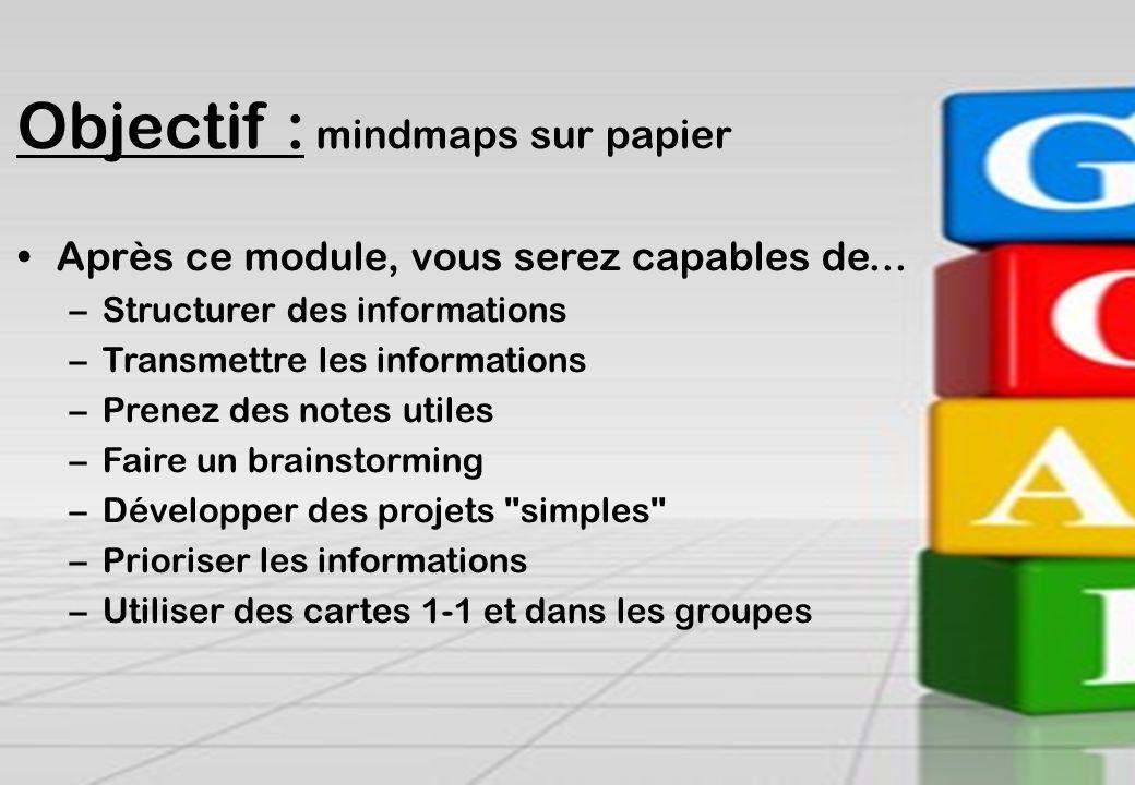 Contact se@traincompany.dk or find soren ellegaard on LinkedIn Objectif : mindmaps sur papier Après ce module, vous serez capables de... –Structurer d