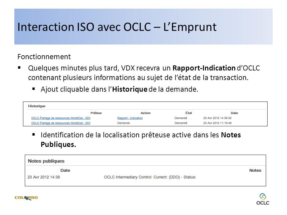 Interaction ISO avec OCLC – LEmprunt Fonctionnement Quelques minutes plus tard, VDX recevra un Rapport-Indication dOCLC contenant plusieurs informations au sujet de létat de la transaction.