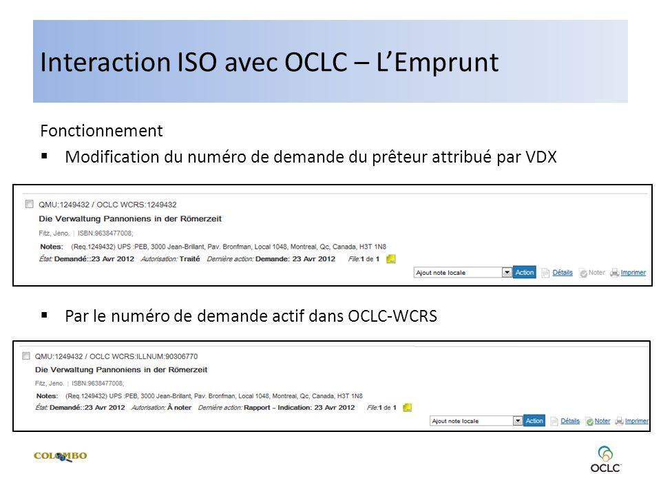 Interaction ISO avec OCLC – LEmprunt Fonctionnement Modification du numéro de demande du prêteur attribué par VDX Par le numéro de demande actif dans OCLC-WCRS