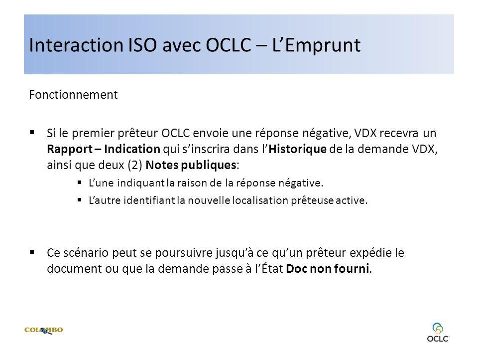 Interaction ISO avec OCLC – LEmprunt Fonctionnement Si le premier prêteur OCLC envoie une réponse négative, VDX recevra un Rapport – Indication qui sinscrira dans lHistorique de la demande VDX, ainsi que deux (2) Notes publiques: Lune indiquant la raison de la réponse négative.