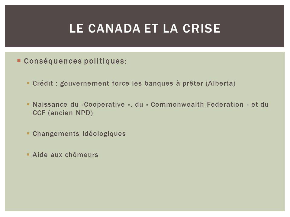 Conséquences politiques: Crédit : gouvernement force les banques à prêter (Alberta) Naissance du «Cooperative », du « Commonwealth Federation » et du CCF (ancien NPD) Changements idéologiques Aide aux chômeurs LE CANADA ET LA CRISE