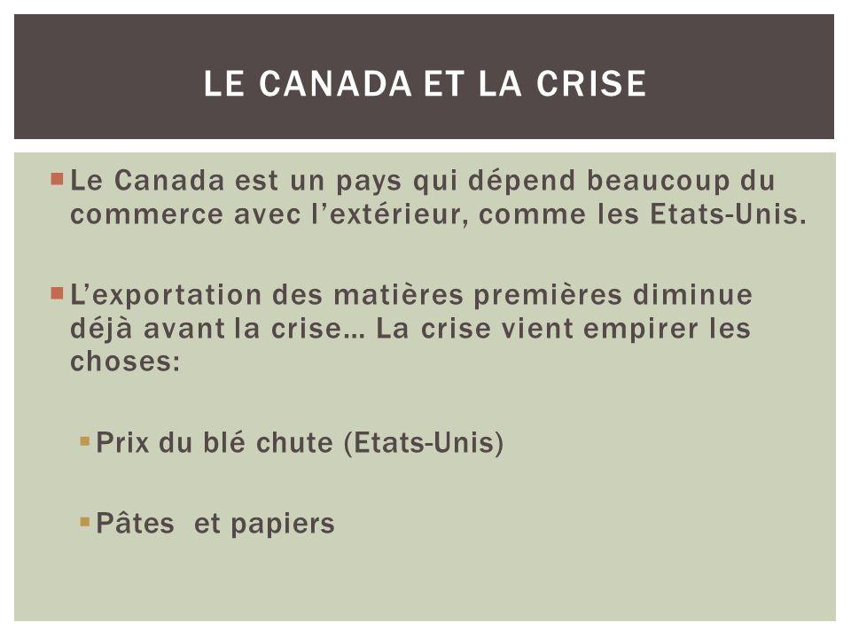 Le Canada est un pays qui dépend beaucoup du commerce avec lextérieur, comme les Etats-Unis.