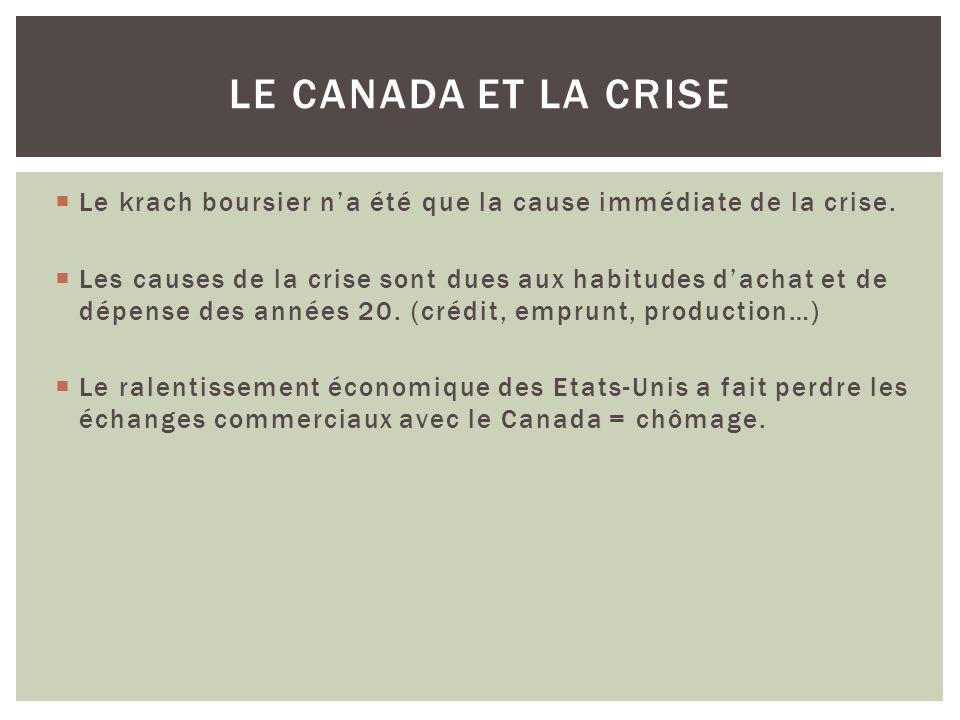 Le krach boursier na été que la cause immédiate de la crise.