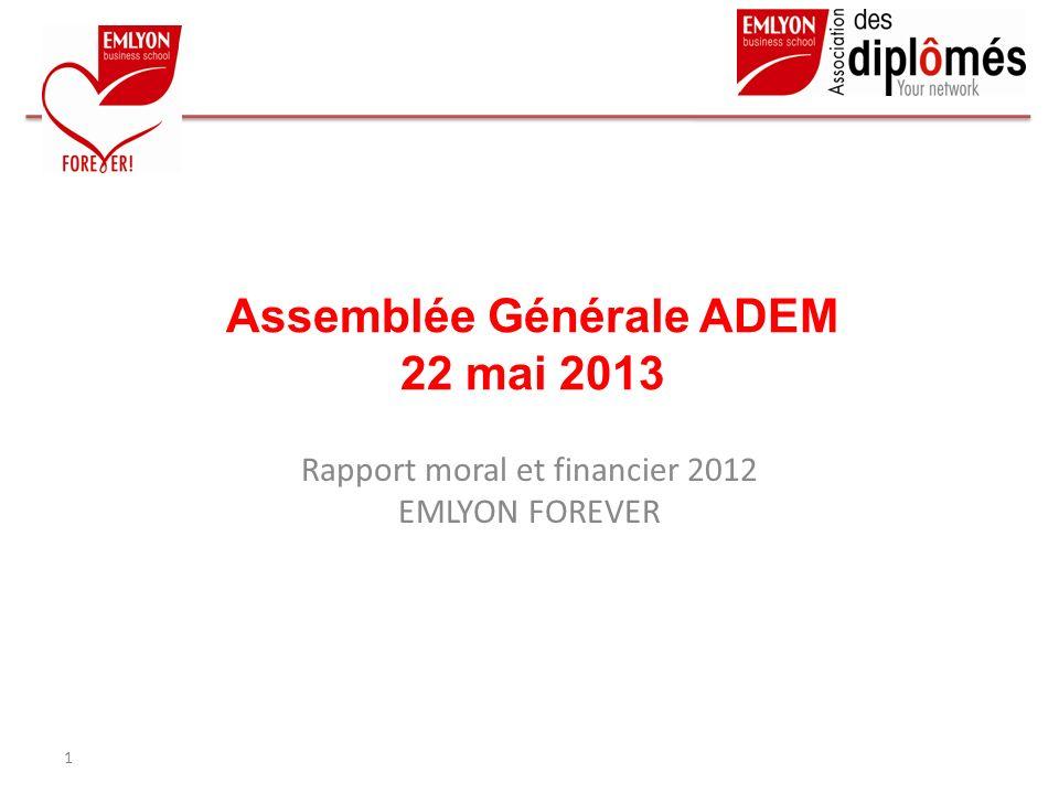 Assemblée Générale ADEM 22 mai 2013 Rapport moral et financier 2012 EMLYON FOREVER 1