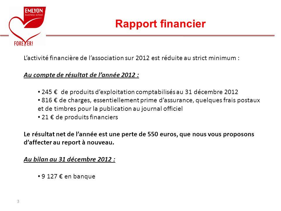 Rapport financier 3 Lactivité financière de lassociation sur 2012 est réduite au strict minimum : Au compte de résultat de lannée 2012 : 245 de produi