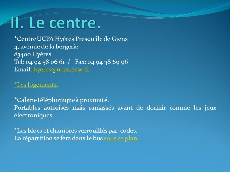*Centre UCPA Hyères Presqu'île de Giens 4, avenue de la bergerie 83400 Hyères Tel: 04 94 58 06 61 / Fax: 04 94 38 69 96 Email: hyeres@ucpa.asso.frhyer