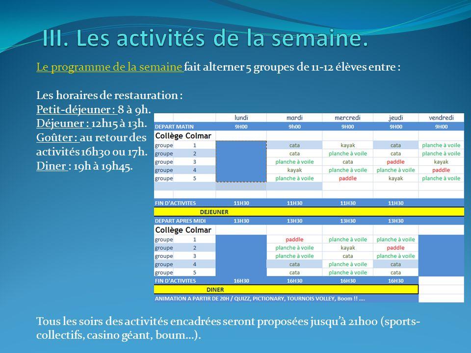Les activités annexes à la voile lUCPA : volley-ball ping-pong pétanque baby-foot.