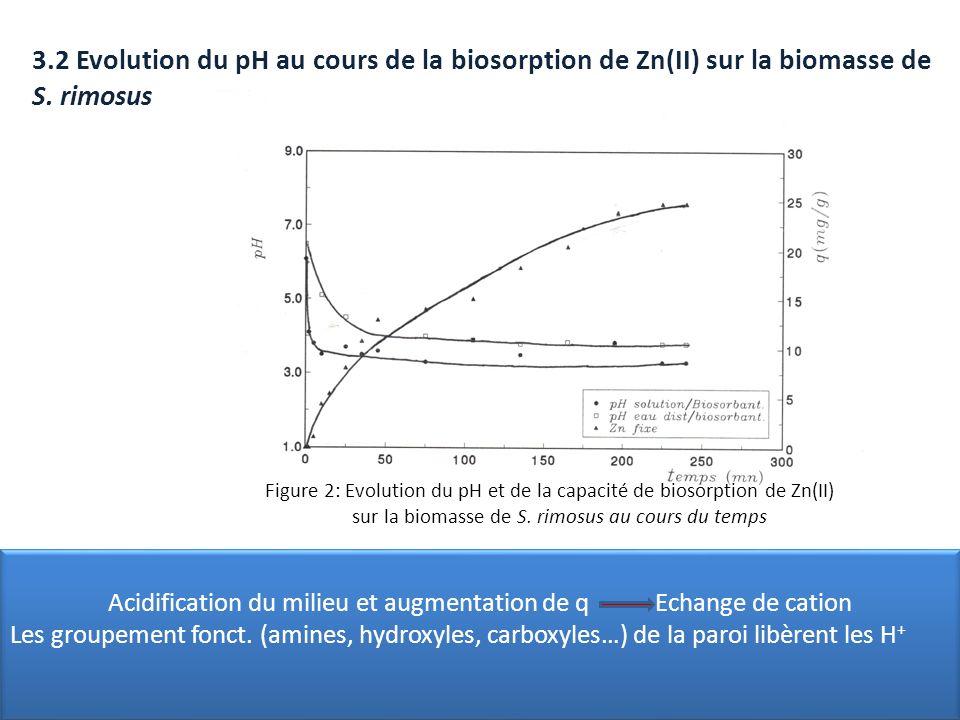 3.2 Evolution du pH au cours de la biosorption de Zn(II) sur la biomasse de S. rimosus Figure 2: Evolution du pH et de la capacité de biosorption de Z