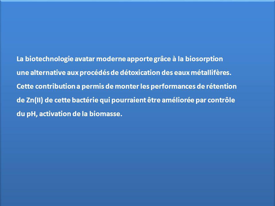 La biotechnologie avatar moderne apporte grâce à la biosorption une alternative aux procédés de détoxication des eaux métallifères. Cette contribution